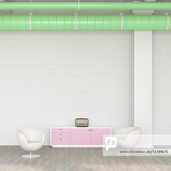Zwei Sessel  Sideboard und Radio in einer Lounge  3D Rendering