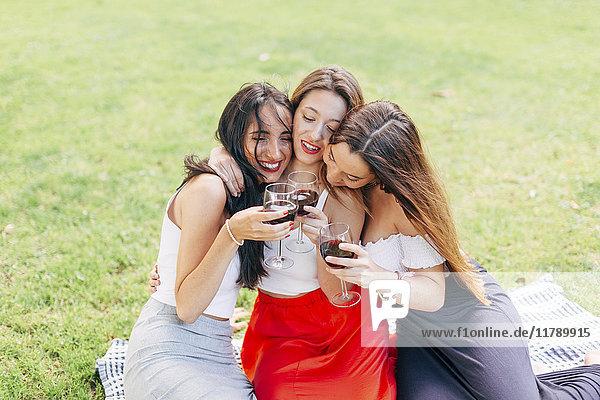 Glückliche Freunde im Park beim Umarmen und Genießen von Rotwein