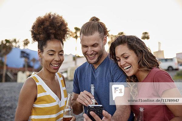 Drei lachende Freunde mit Bierflaschen beim Blick auf das Smartphone am Strand