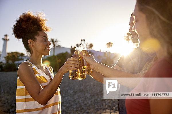 Drei Freunde stoßen mit Bierflaschen am Strand bei Sonnenuntergang an.