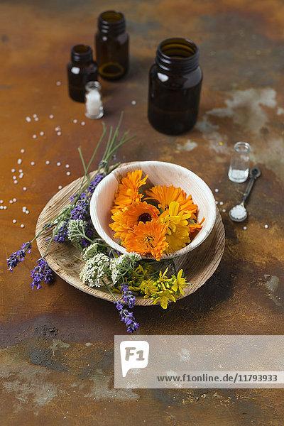 Blüten von Heilpflanzen  Medizinflaschen und Globuli auf rostigem Grund