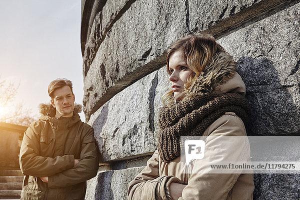 Germany  Potsdam  displeased young couple at Glienicke Bridge
