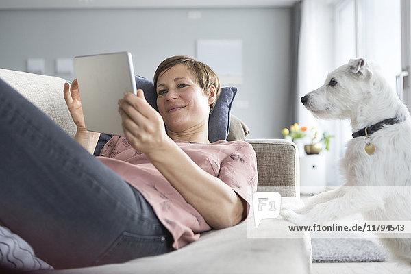 Porträt einer lächelnden Frau  die auf der Couch liegt und dabei den Hund beobachtet. Porträt einer lächelnden Frau, die auf der Couch liegt und dabei den Hund beobachtet.