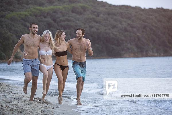 Vier glückliche Freunde am Strand