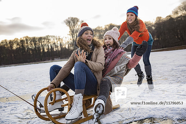 Friends having fun with sledge on frozen lake