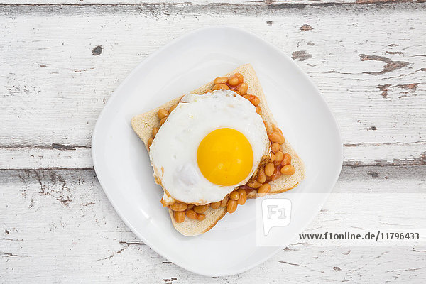 Fried egg and baked beans on toast