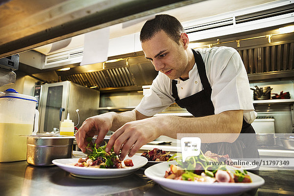 Chef standing in kitchen  wearing apron  adding salad garnish to plates of food.
