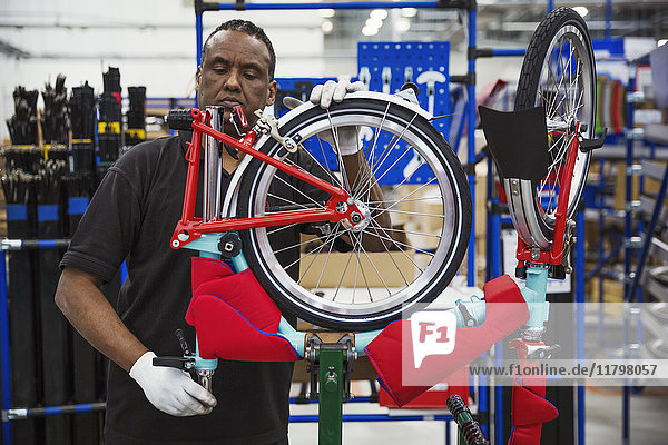 Male skilled factory worker assembling a bicycle in a factory  attaching a wheel.