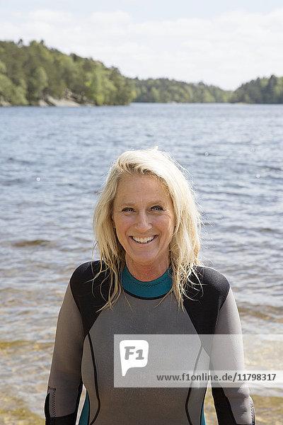 Portrait of woman in wetsuit