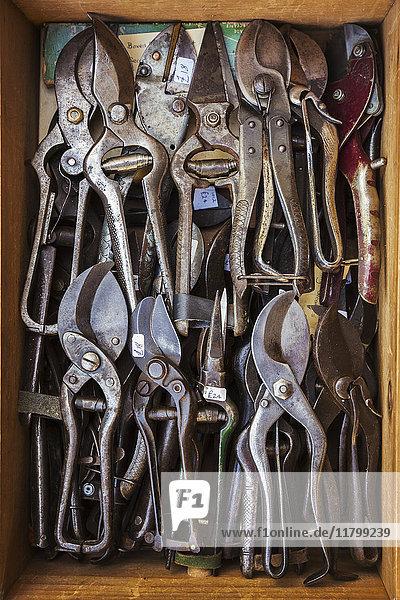 Draufsicht auf eine Kiste mit alten rostigen  abgenutzten Blechscheren  Blechscheren und Zangen in einer Werkstatt. Draufsicht auf eine Kiste mit alten rostigen, abgenutzten Blechscheren, Blechscheren und Zangen in einer Werkstatt.