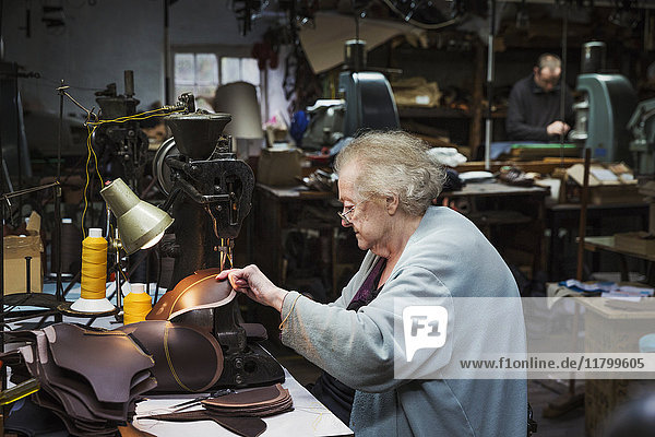 A grey haired senior worker  a woman sitting at a sewing machine in a shoemaker's workshop.