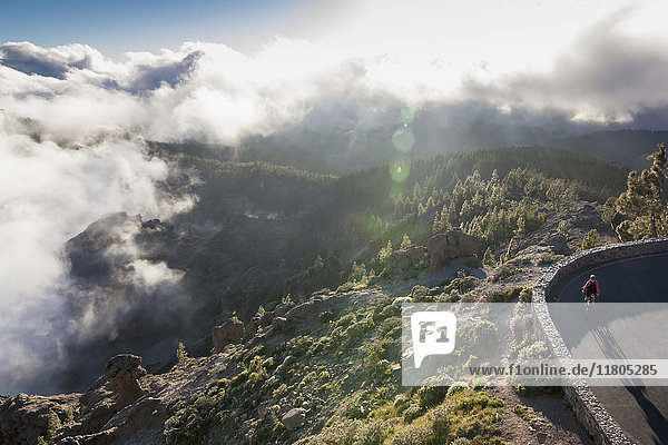 Mountain biker riding electric bicycle on road by mountain