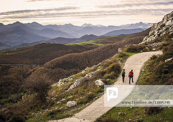 Women and Man on a hiking tour in the Picos de Europa near Potes. Cantabria  Northern Spain