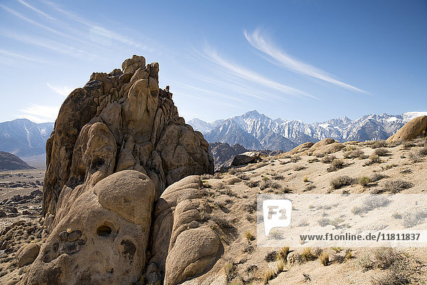 Rock formation in desert landscape