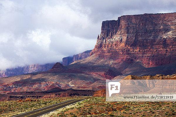 Scenic view of road in desert landscape