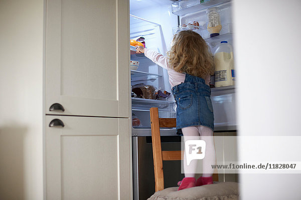 Young girl standing on chair  reaching into fridge  rear view