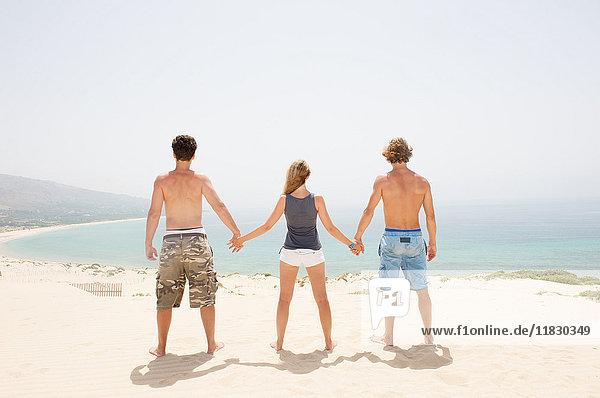Freunde am Meer auf einer Sanddüne