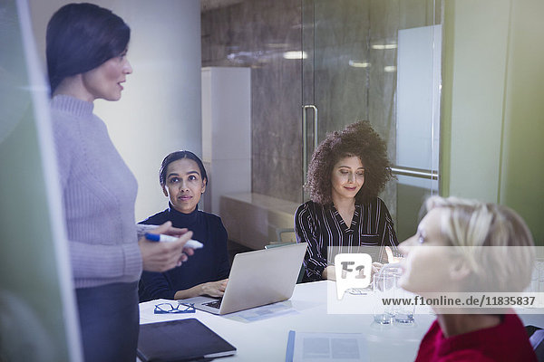 Businesswomen planning  talking in conference room meeting