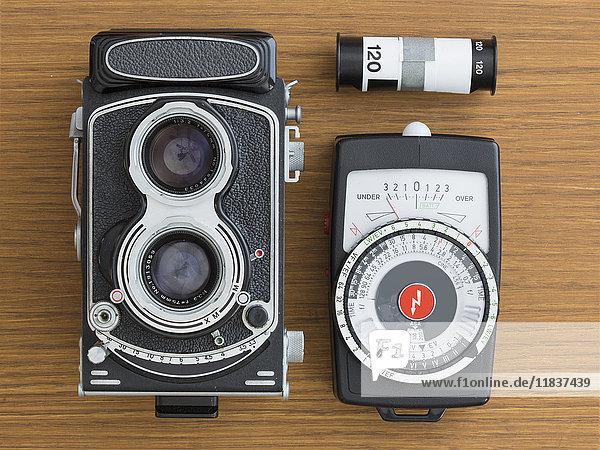Vintage camera with film