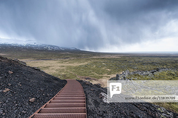 Staircase on hill in landscape  Hellissandur  Snaellsnes peninsula  Iceland