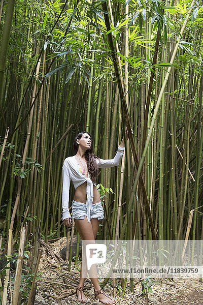 Caucasian woman standing in bamboo forest