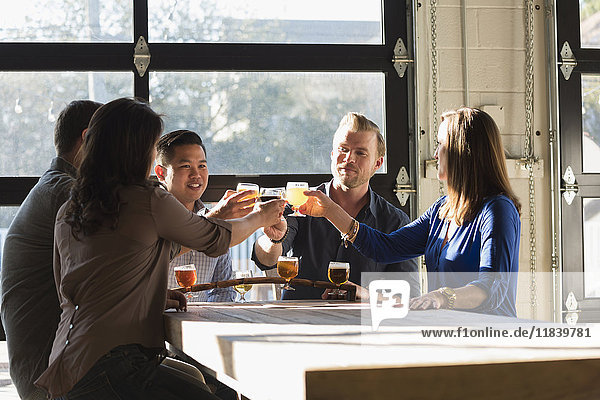 Friends toasting with beer in brew pub