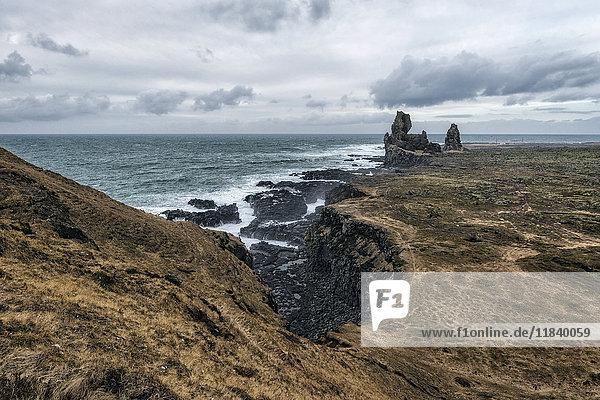 Rock formations near ocean  Hellissandur  Snaellsnes peninsula  Iceland