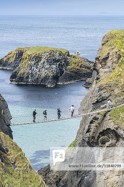 View of the Carrick a Rede Rope Bridge  Ballintoy  Ballycastle  County Antrim  Ulster  Northern Ireland  United Kingdom  Europe