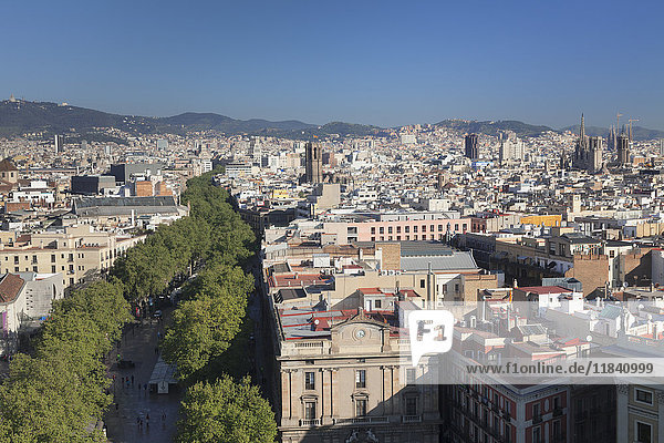 View from Columbus Monument (Monument a Colom) over La Rambla to Barcelona  Catalonia  Spain  Europe