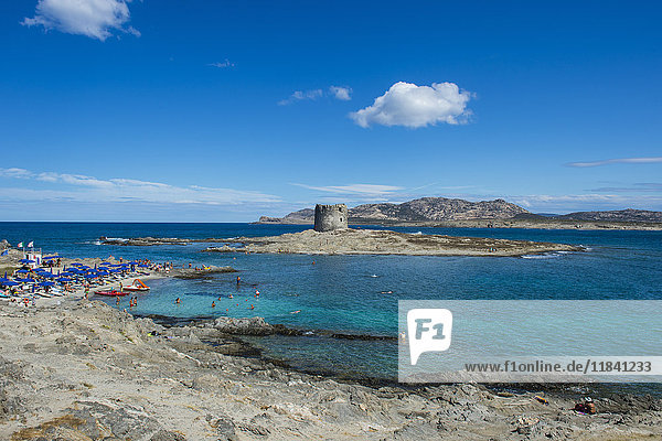 Old watchtower on the beach  Pelosa  Sardinia  Italy  Mediterranean  Europe