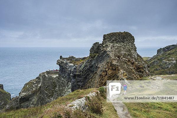 Tintagel Castle on Tintagel Island  Cornwall  England  United Kingdom  Europe