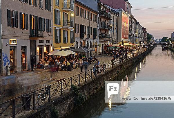 Naviglio Grande in Milan  Lombardy  Italy  Europe