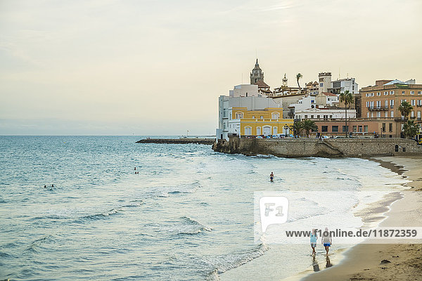 'Sitges downtown and seaside view; Sitges  Barcelona province  Spain'
