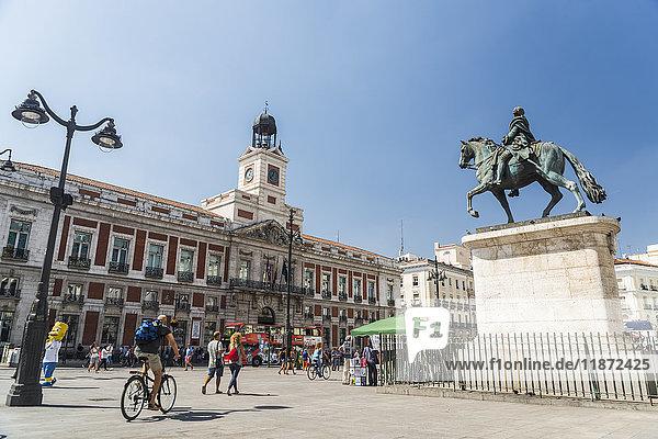 'Famous Puerta del Sol  Statue of Carlos II King of Spain; Madrid  Spain'