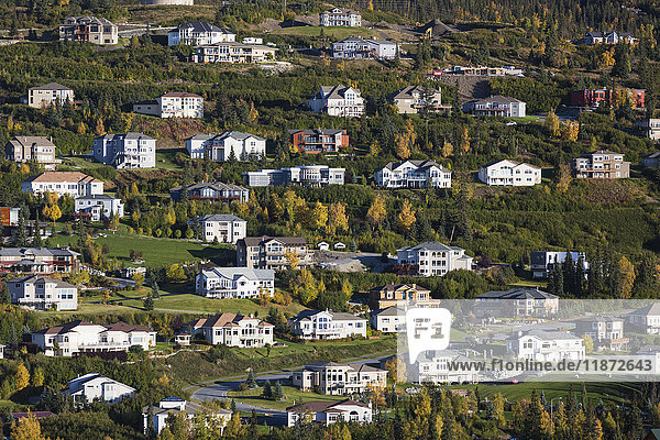 Aerial view of large homes on the Anchorage Hillside in autumn  Southcentral Alaska  USA