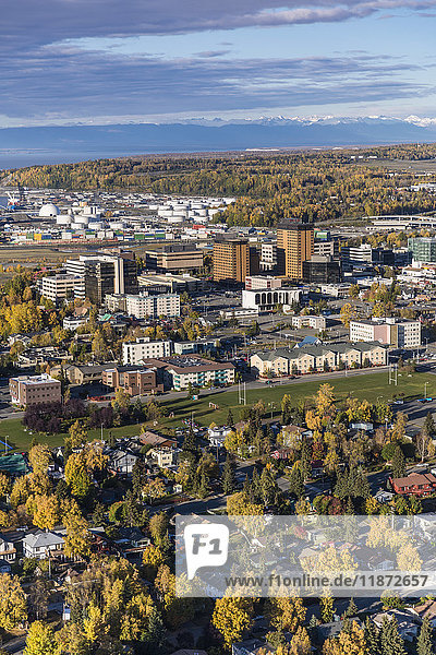Aerial view of downtown Anchorage in autumn  Southcentral Alaska  USA