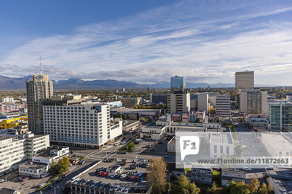 Aerial view of downtown Anchorage  Southcentral Alaska  USA