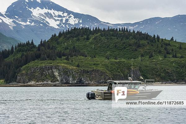 'A boat passes by in Kukak Bay  Katmai National Park & Preserve  Southwest Alaska  USA'