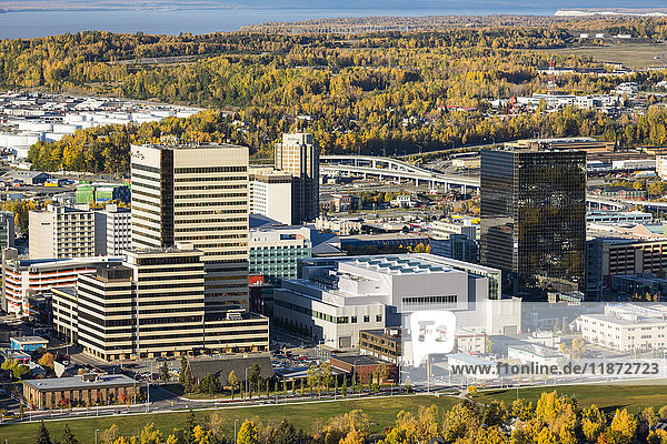Aerial view of the ConocoPhillips building in downtown Anchorage in autumn  Southcentral Alaska  USA