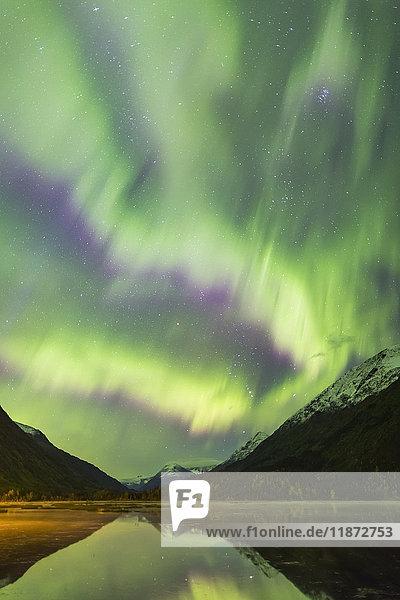 Northern lights dance over Tern Lake and the Kenai Mountains  Southcentral Alaska  USA