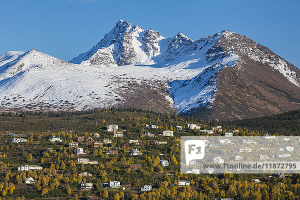 Aerial view of the Hillside neighborhood with the Chugach mountains in the background in autumn  Anchorage  Southcentral Alaska  USA