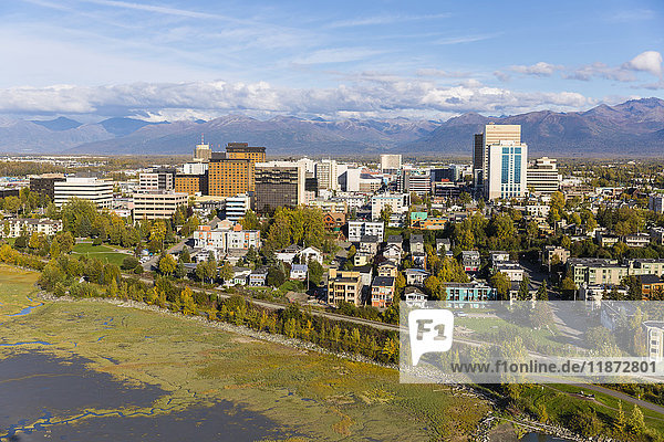 Aerial view of downtown Anchorage and low tide flats of Cook Inlet  Southcentral Alaska  USA