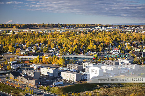 Aerial view of low income housing apartments  Mountain View neighborhood  Anchorage  Southcentral Alaska  USA