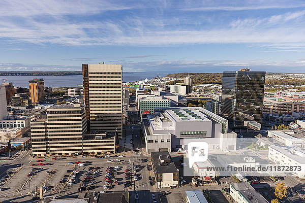 Aerial view of downtown Anchorage with Cook Inlet in the background  Southcentral Alaska  USA