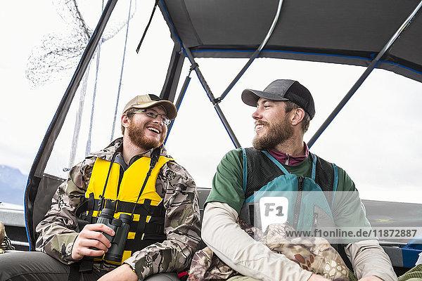 Tourists in life vests on a boat  Seward  Southcentral Alaska  USA
