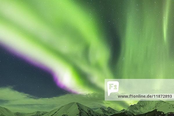 Northern lights over the Kenai Mountains near Moose Pass  Kenai Peninsula  Southcentral Alaska  USA