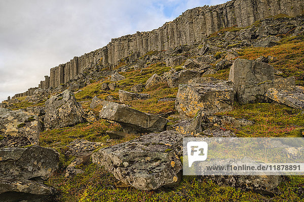 'Basalt columns in Iceland are eroding and crumbling  Snaefellsness Peninsula; Iceland'