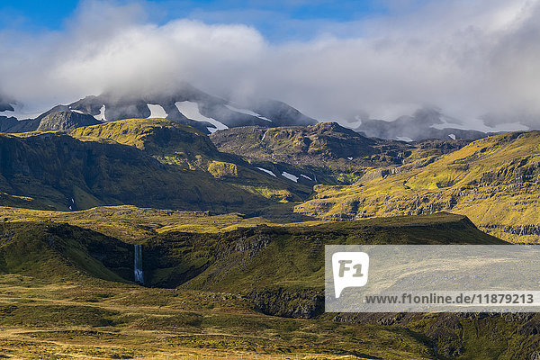 'A scenic look of the mountains and waterfalls of the Snaefellsness Peninsula; Iceland'