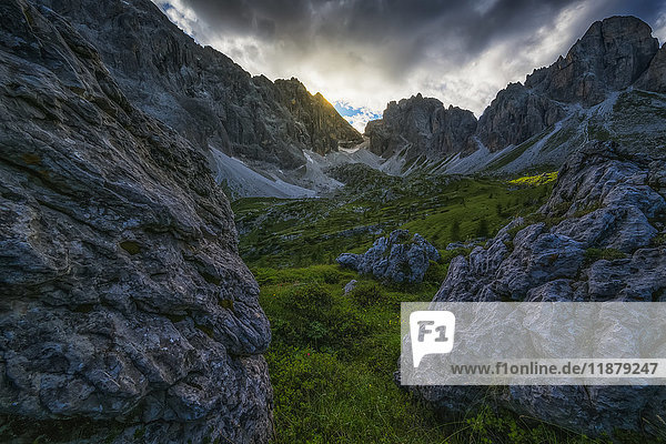 'The Dolomite mountains at dusk; Cortina  Italy'
