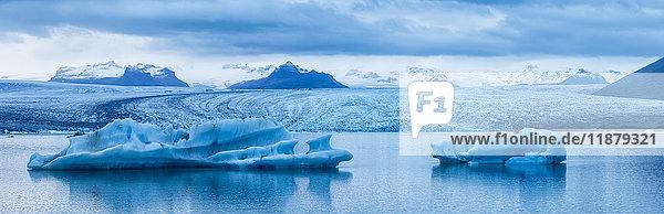 'Large icebergs in Jokulsarlon  a glacial lagoon along Iceland's South coast; Iceland'
